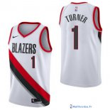 Maillot NBA Pas Cher Portland Trail Blazers Evan Turner 1 Blanc Association 2017/18