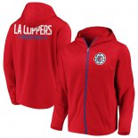 LA Clippers Fanatics Branded Red Iconic Defender Mission Performance Primary Logo Full-Zip Hoodie