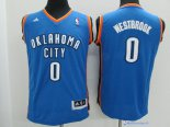Maillot NBA Pas Cher Oklahoma City Thunder Junior Russell Westbrook 0 Bleu