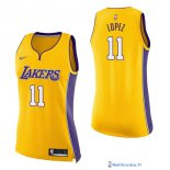 Maillot NBA Pas Cher Los Angeles Lakers Femme Brook Lopez 11 Jaune Icon 2017/18