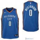 Maillot NBA Pas Cher Oklahoma City Thunder Junior Russell Westbrook 0 Bleu Icon 2017/18