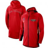 New Orleans Pelicans Nike Red Authentic Showtime Therma Flex Performance Full-Zip Hoodie
