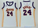 Maillot NBA Pas Cher Los Angeles Lakers Femme Blanc Kobe Bryant 24