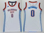 Maillot NBA Pas Cher Oklahoma City Thunder Femme Russell Westbrook 0 Blanc