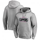 LA Clippers Fanatics Branded Heathered Gray Primary Logo Pullover Hoodie