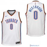 Maillot NBA Pas Cher Oklahoma City Thunder Junior Russell Westbrook 0 Blanc Association 2017/18
