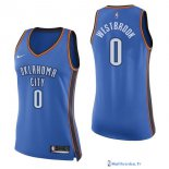 Maillot NBA Pas Cher Oklahoma City Thunder Femme Russell Westbrook 0 Bleu Icon 2017/18