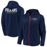 New Orleans Pelicans Fanatics Branded Navy Iconic Defender Mission Performance Primary Logo Full-Zip Hoodie