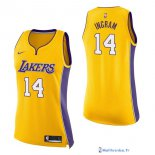 Maillot NBA Pas Cher Los Angeles Lakers Femme Brandon Ingram 14 Jaune Icon 2017/18