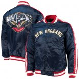 New Orleans Pelicans Starter Navy The Offensive Varsity Satin Full-Snap Jacket